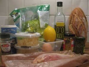Tous les ingrédients de la salade César