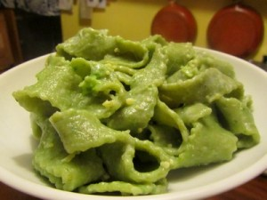pates vertes de printemps à la salade mache