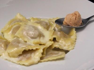 ravioles et glace au foie gras de philippe Faur Toulouse