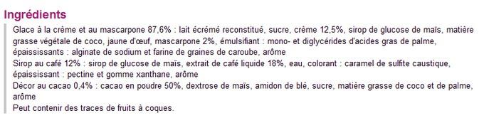 Une exemple de glace parfum tiramisu