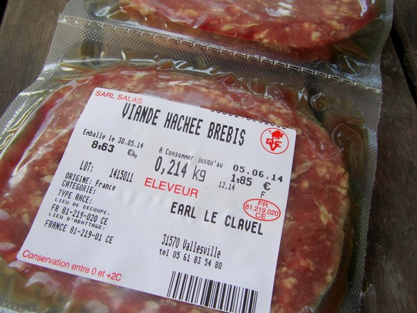 Viande hachée trouvée dans mon magasin fermier Ferme Attitude (Toulouse)