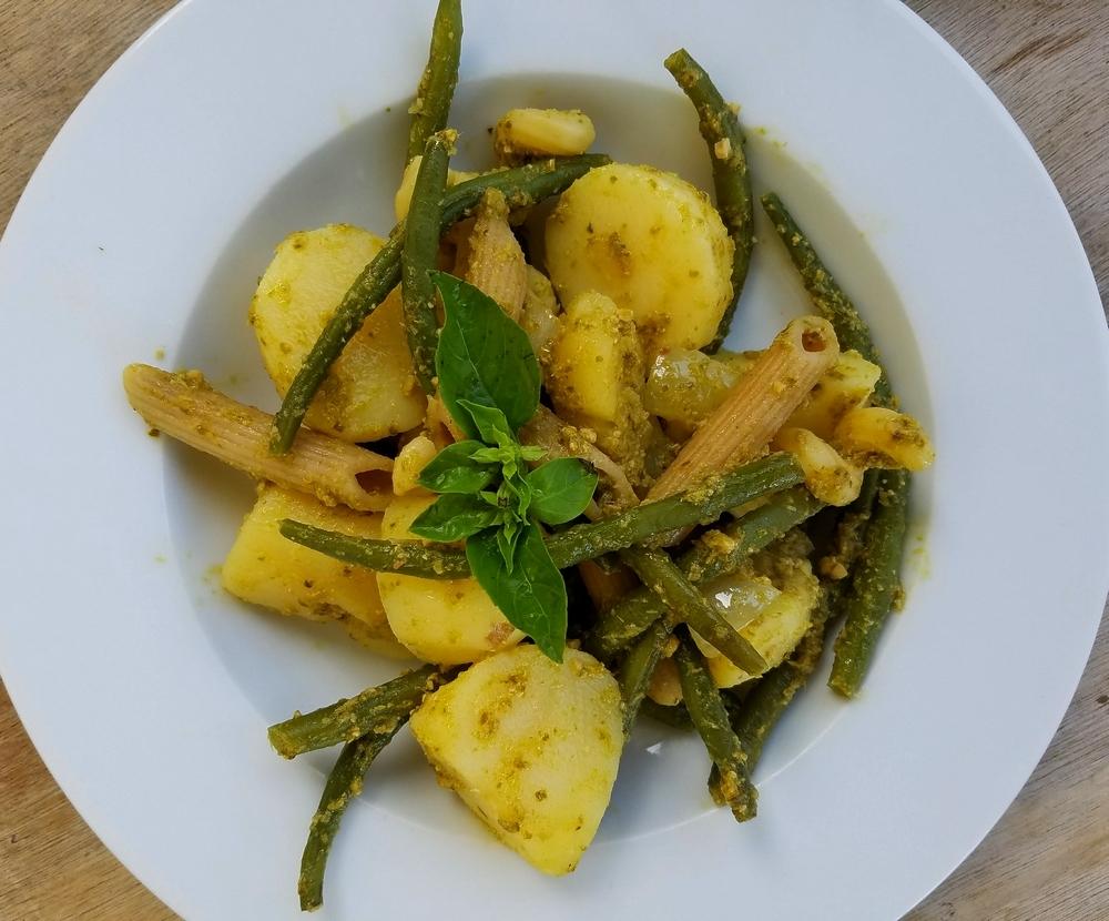 Pesto de Gênes avec patates et haricots verts