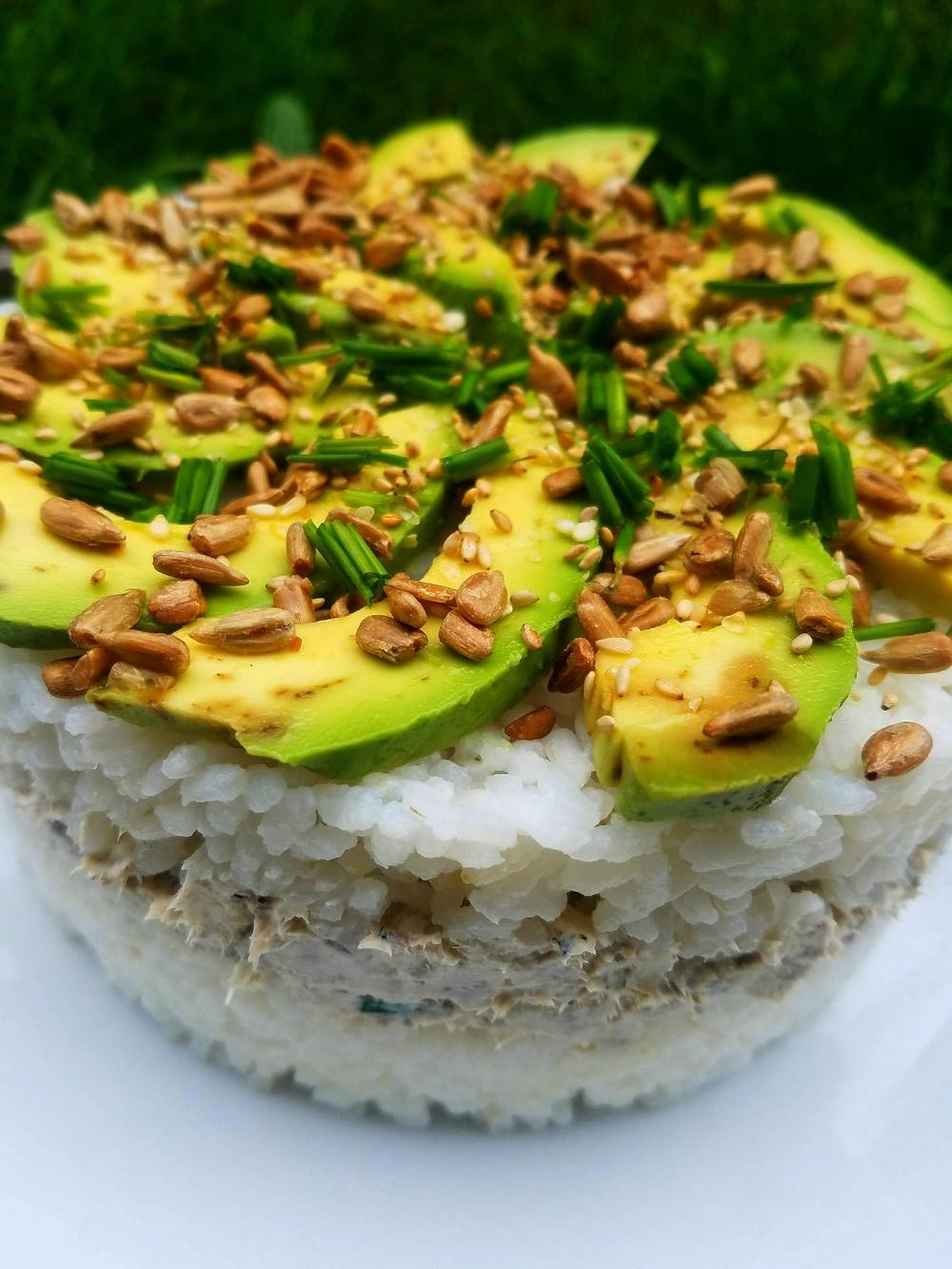 Gâteau de riz, maquereaux, fromage