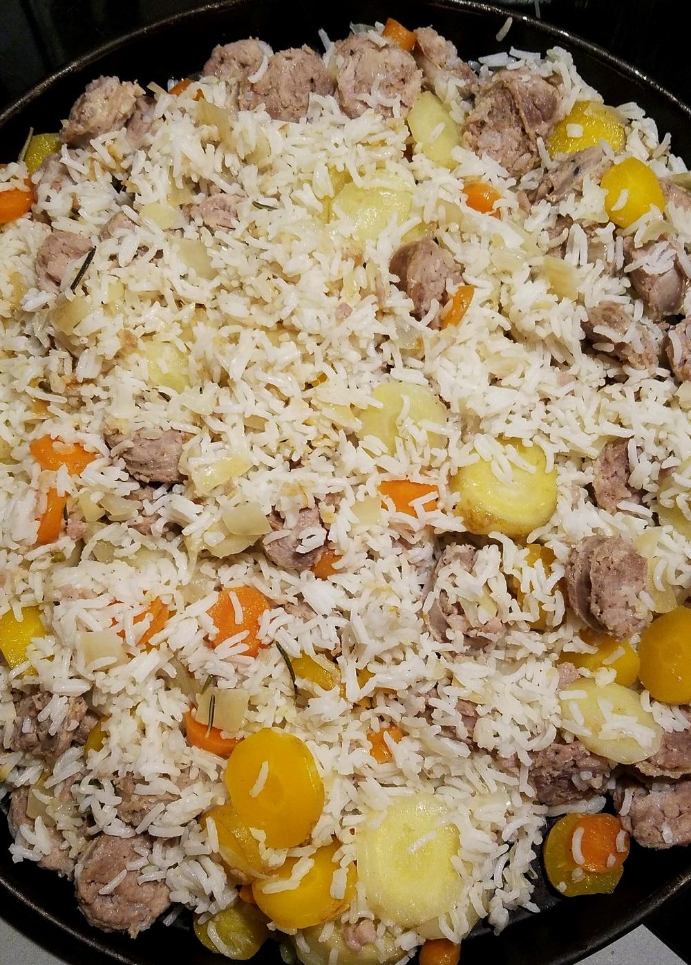 Plov ouzbèke riz carottes saucisse toulouse