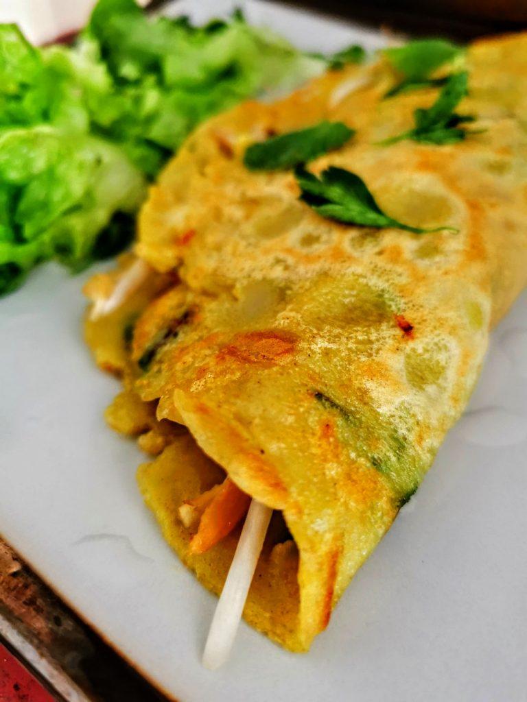 Banh xeo, crêpe vietnamienne (au poulet et mungo)